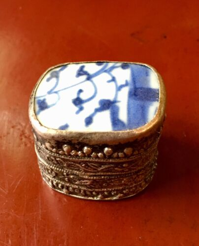 Vintage Asian Chinese Blue White Porcelain Shard Fragment Silver Plate Pill Box