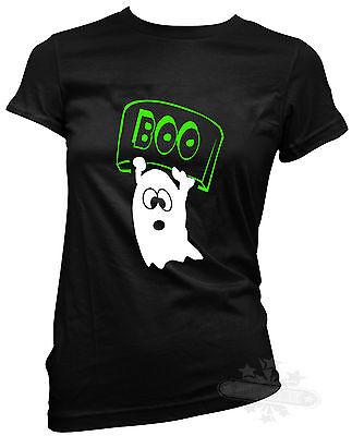 Halloween Geist Boo Damen T-Shirt Kostüm alle Größen Humor lustig ()