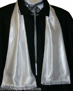 Mens-Victorian-Edwardian-costume-fancy-dress-white-satin-opera-scarf