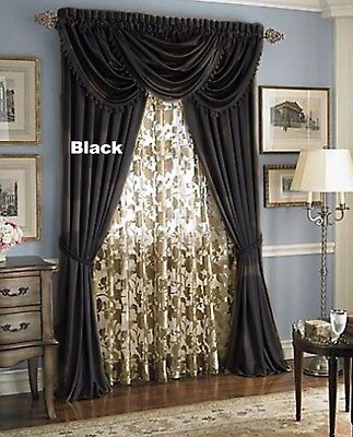 - Luxury Hyatt WINDOW TREATMENT, Royal Velvet,set of 2 Panel &3 valance- BLACK