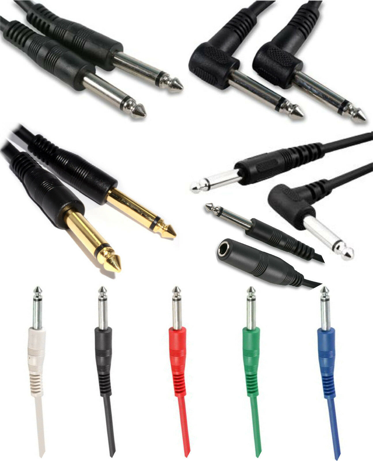 6.35mm Mono Jack to Jack Plug 6.35mm Electric Guitar Keyboard Cable Lead 1/4