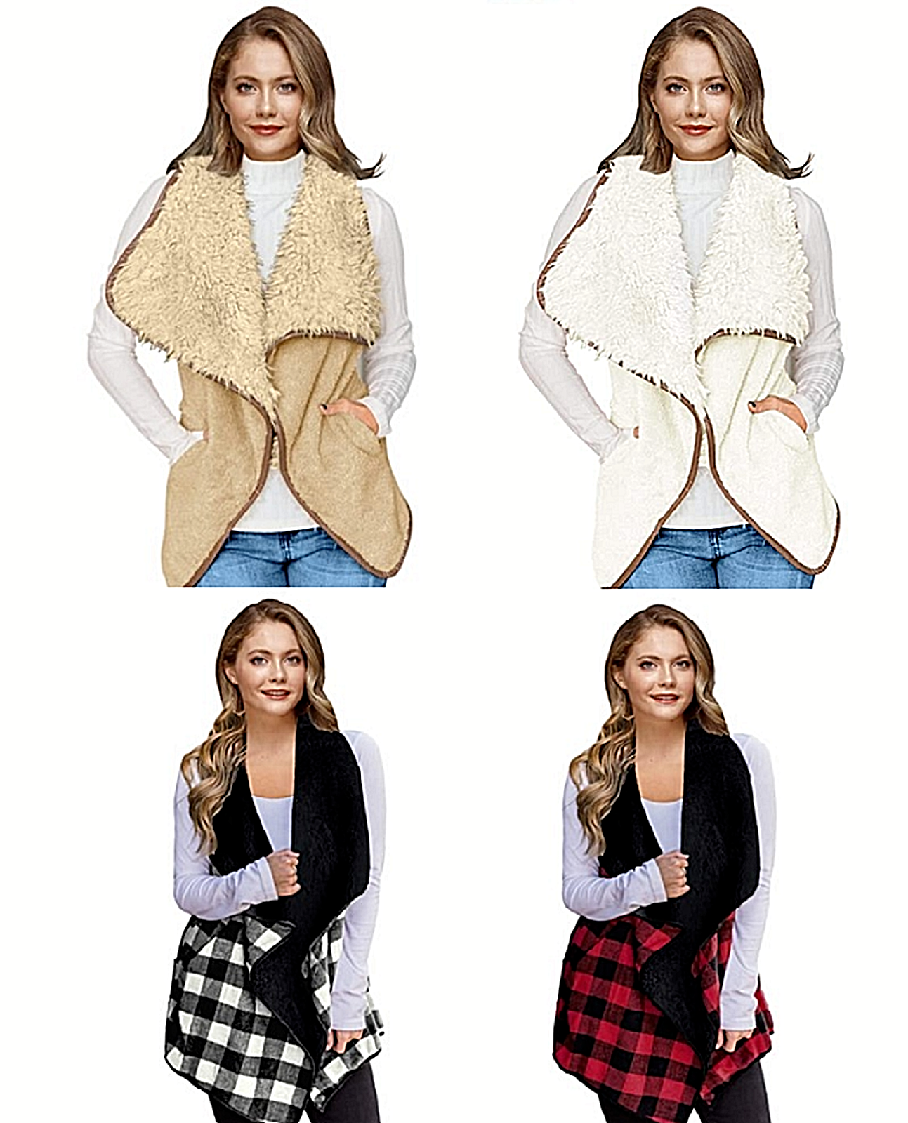 Lapel Open Front Plaid Vest Cardigan with Pockets Winter Warm Cozy Fluffy Fashio Clothing, Shoes & Accessories