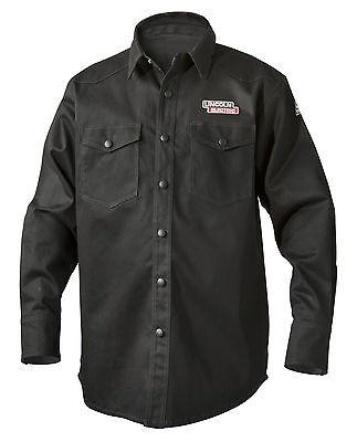 Lincoln Black Fire Retardant Fr Welding Shirt Size Medium K3113-m