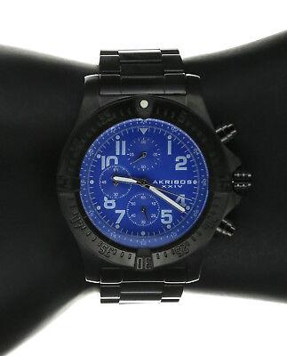 Men's Akribos XXIV Ak711BU Stainless Steel Watch Watch Chronograph Blue Dial