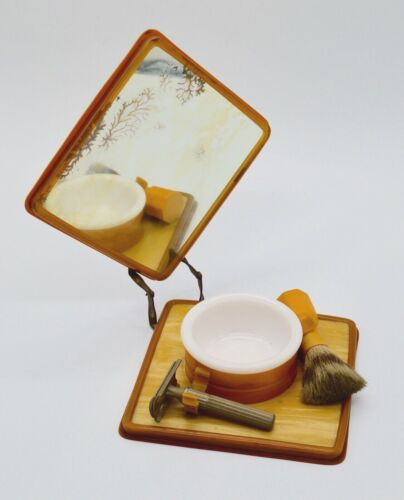 Vintage Heljestrand Collectible Ever-Ready Travel Shave Kit Brush Bowl Mirror