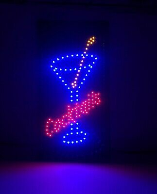 Led Cocktail Sign Animated High Visibility Bar Sign 19x10 Martini Sign Blue Red