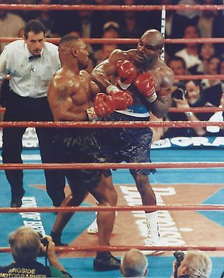 MIKE TYSON vs EVANDER HOLYFIELD 8X10 PHOTO BOXING PICTURE EXCHANGE PUNCHES