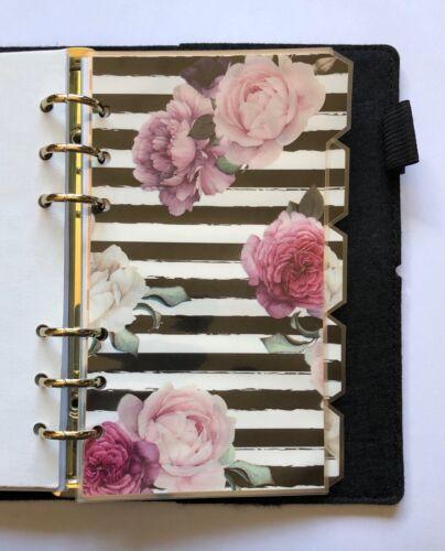 Fully Laminated A5 Filofax Organiser Dividers in Beautiful Rose /& Black Stripe