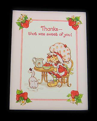 Vtg Thank You Unused Greeting Card -Strawberry Shortcake- Thanks -Blank Inside