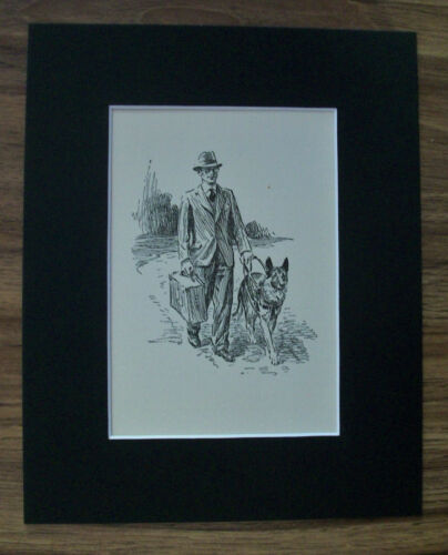 Print German Shepherd Dog Morgan Dennis Man See Eye Walk 1937 Bookplate 8x10 Mat
