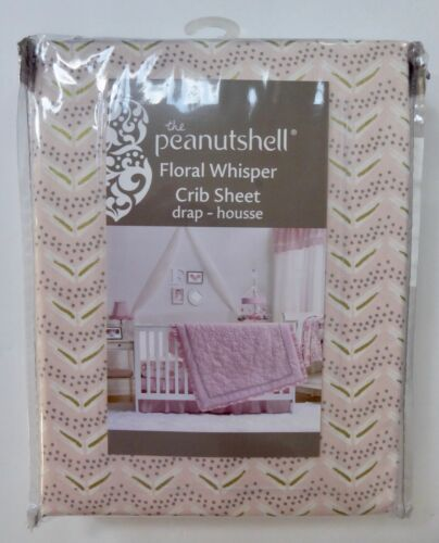 New The Peanut Shell FLORAL WHISPER Fitted Crib Sheet 100% Cotton Baby Girl