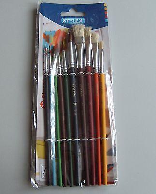 Pinselset 10 tlg Pinsel Set  Schulpinsel Malpinsel   Borstenpinsel + Haarpinsel