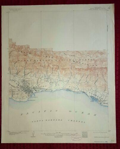 1909 USGS Topo Special Map of Santa Barbara California Scarce