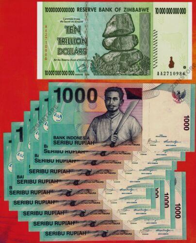 10 Trillion Zimbabwe Dollars + 10 x 1000 Indonesia Rupiah Banknotes Currency Set