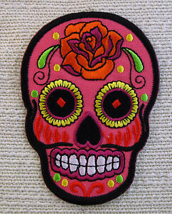 FLOWERED SKULLS 5 COLOURS Embroidered Iron On Patch Goth punk Rockabilly