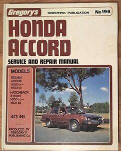 Honda Accord******1981 Gregory's Workshop Manual Berwick Casey Area Preview