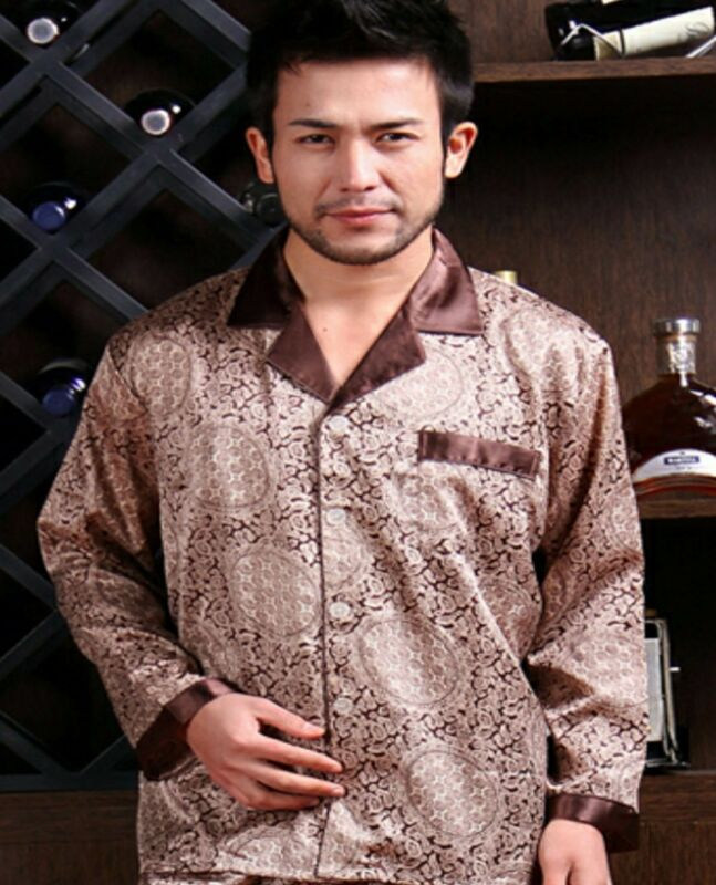 Халат или пижама для мужчины Xmas GIFT Mens Silk Satin Pajamas US ... e799c53f6