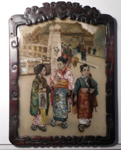 Antique Japanese Glass Reverse Painting
