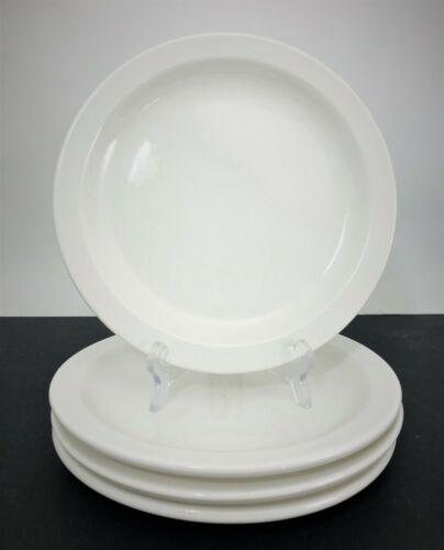 "4 Buffalo China White 8 1/4"" Salad Plates Vintage Restaurant Ware 1977"