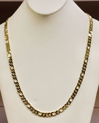 "14k Solid Gold Handmade Figaro Curb Link Mens Chain/necklace 22"" 58 Grams 6.5 Mm"