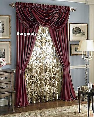 - Hyatt WINDOW TREATMENT,Royal Velvet,complete set-panel,valance -Burgundy 7 pc.