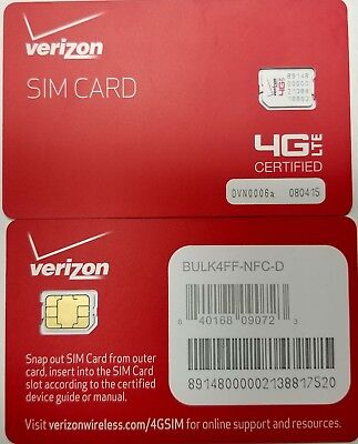 NEW OEM •  VERIZON NANO 4FF SIM Card • CDMA 4GLTE • Prepaid or Contract  segunda mano  Embacar hacia Argentina