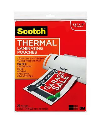 Scotch Thermal Laminating Pouches 8.9 X 11.4-inches 3 Mil Thick 20-pack T...