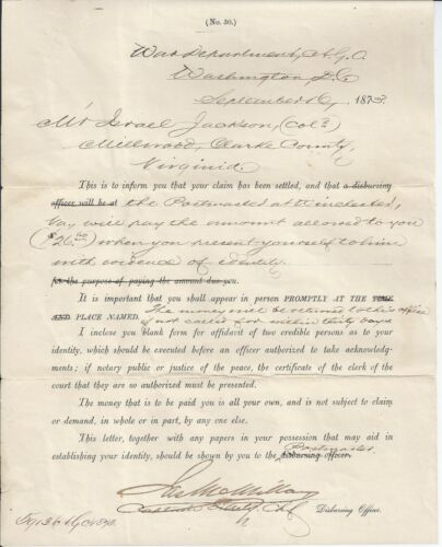 CW AfricanAmerican Soldier Co E, 2nd US Colored Trps Claim Settlement Clarke Co