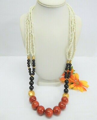 LIA SOPHIA GOLD TONE, RED CORAL, WHITE GLASS SEED BEAD & WOOD BEAD NECKLACE 36