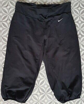 Womens Nike Dri Fit Black 3/4 Bottoms Size S Sweat Pants Joggers Yoga Gym Workou