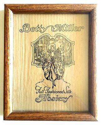 Framed Vintage Betty Miller Full Fashioned Silk Hosiery Logo Stockings 1920s 30s