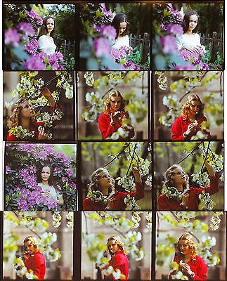 12 Stück DDR Negativ 60 mm Model Frau Blüten Frühling Mode      ( 549