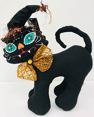 Halloween Black Cat Decoration Day of the Dead Painted Kitty Face - Black Cat Halloween Face Paint