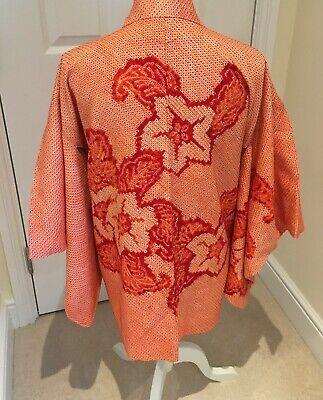 Vintage Japanese Orange/Ivory Silk 'Flower/Leaf' SHIBORI Kimono Haori Jacket MED