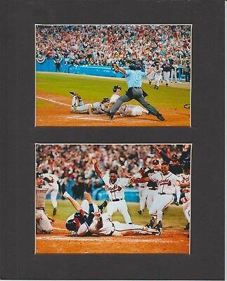 Atlanta Braves Mat - ATLANTA BRAVES MATTED PICS OF 1992 NLCS SID BREAM SCORING WINNING RUN