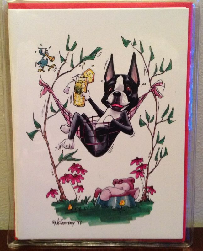 Boston Terrier note cards by McCartney, pack of 4 with envelopes