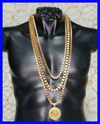 VERSACE 24K GOLD PLATED MEDUSA TRIPLE CHAIN