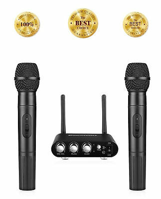 Dual Karaoke Wireless Microphones Bluetooth Handheld Mic System With USB Adapter