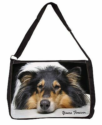 Rough Collie Dog 'Yours Forever' Large Black Laptop Shoulder Bag Chris, AD-RC3SB