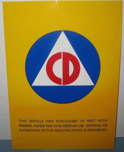 2 CIVIL DEFENSE VEHICLE 5X7 Inches AUTOMOBILE STICKER DECAL COLD WAR