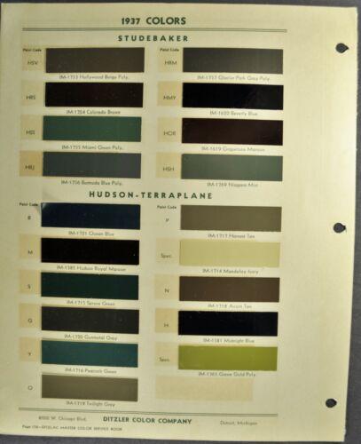 1937 Studebaker & Hudson Paint Chip Colors Sheet Terrraplane Nice Original 37