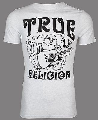 TRUE RELIGION Mens T-Shirt UPFRONT BUDDHA Ash Heather Grey Black $69 Jeans NWT