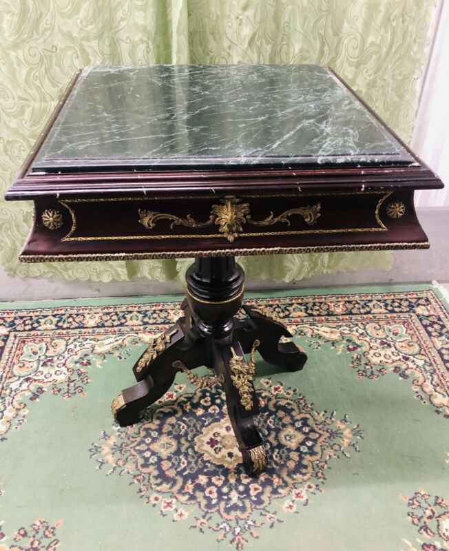 French Marble Top Hand Painted Table With Brass Ornaments. Holiday Special Deal