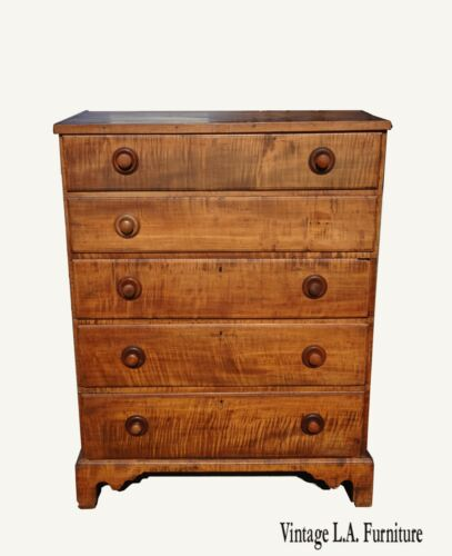 19th Century Quarter Sawn Oak Tall Boy Dresser w Storage on Top ~ French Country