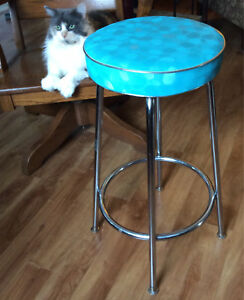 MCM Nortex chrome and vinyl stool