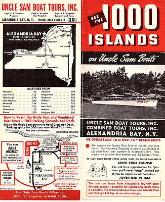1000 Islands Boat Tours Vintage 1950s Brochure Uncle Sam Boats Alexandria Bay NY