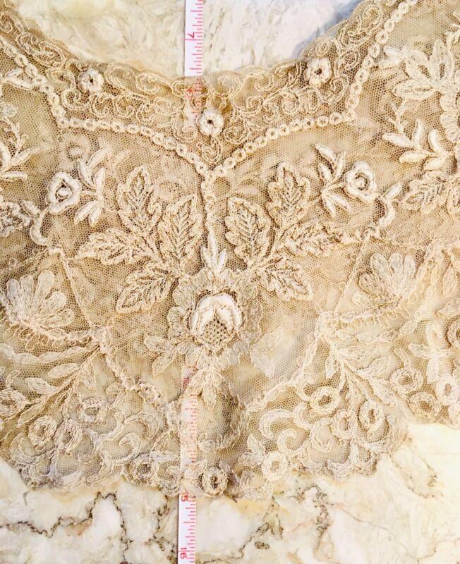 Antique Needle lace Bertha Collar Ecru Rose Motif Stunning