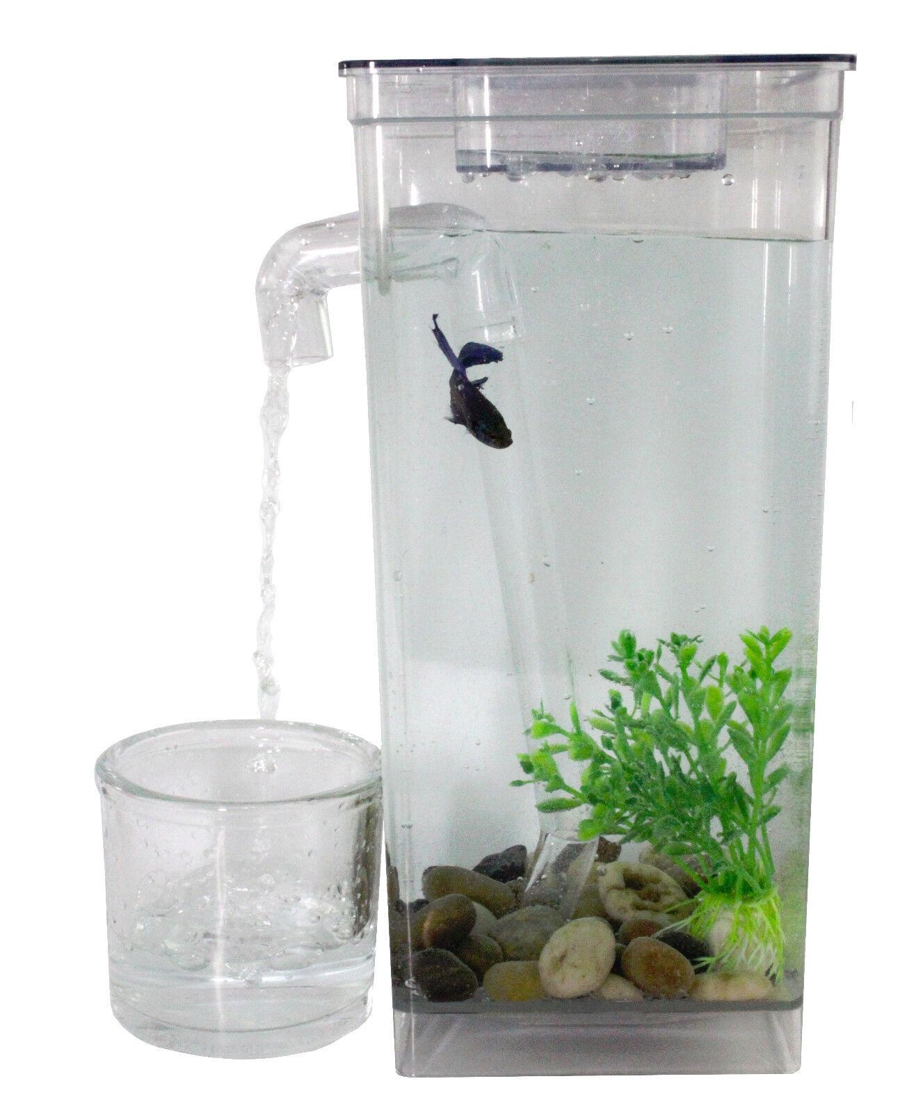 Self Cleaning Fun Fish Tank - Desktop Small Fish Aquarium w/ LED Light On TV