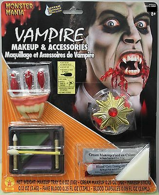 VAMPIRE MAKEUP & ACCESSORIES Dracula Mens Boys Costume Fangs Blood Medallion - Men's Vampire Makeup