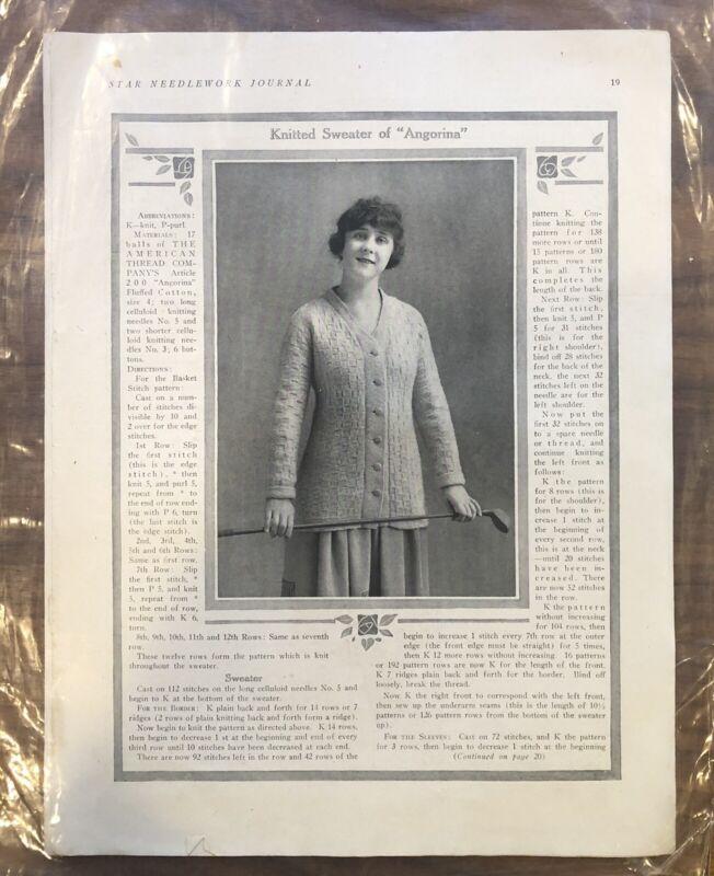STAR NEEDLEWORK JOURNAL  Antique - GOLF - TENNIS - PRINT - PAGE